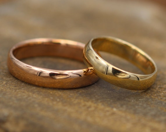 Wide Yellow and Rose Gold Recycled Wedding Ring Set - His and Hers Set - Yellow and Pink Gold Wedding Rings - Rose Gold Wedding Set