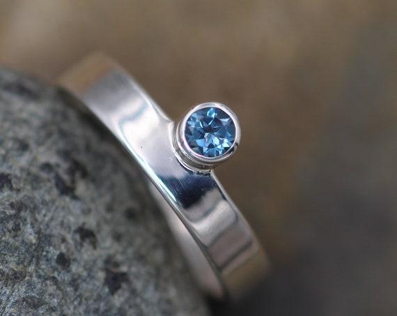 London Blue Topaz Offset Bezel Ring - Topaz Wide Band Ring - Silver Topaz Ring - Blue Topaz Low Profile Ring - Topaz Bezel Ring