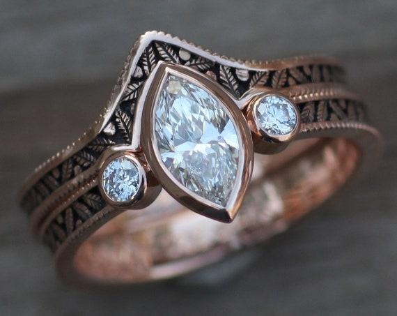 Diamond Rose Gold Hand Made Vintage Engagement Ring Set - Marquise Ring - Leaf Engagment Ring - Diamond Ring - Diamond Bezel Ring