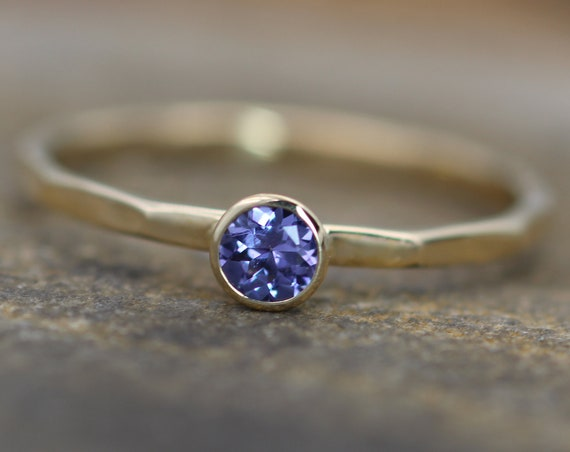 Tanzanite Gold Stacking Ring 3mm round - Tanzanite Bezel Stacking Ring - Tanzanite Bezel Ring - Gold Tanzanite Ring