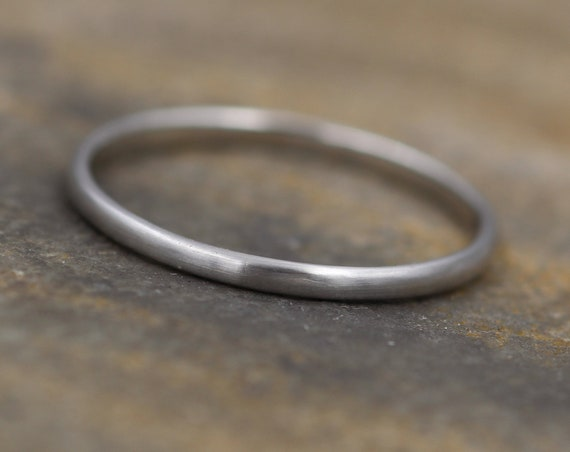 Platinum Matte Band 1.5x1mm - Simple Platinum Band - Smooth Platinum Band - Engravable Band - Half Round Band - Hand Made in 950 Platinum