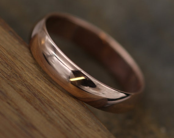 Wide Rose Gold Band 4.5x 1.5mm, Glossy Finish , Comfortable Band - Smooth Band - Engravable Band - Half Round Pink Gold Band - Hand Made