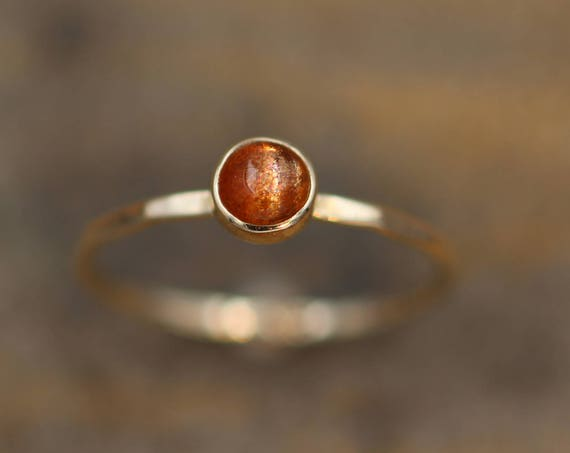 Sunstone Gold Round Stacking Ring 5mm Glossy FInish- Made with USA Recycled 14 or 18kt Yellow Gold - Sunstone Bezel Stacking RIng