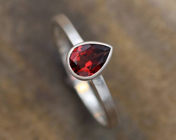 Garnet Pear Bezel Ring Matte Finish - Pear shaped Ring - Rock Fettish Ring - In Sterling Silver or Gold- Alternative Engagement Ring