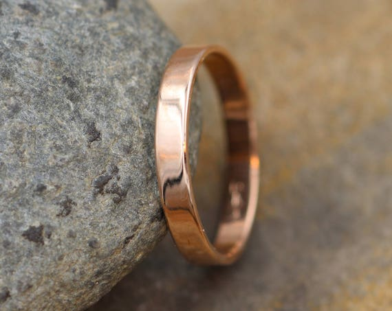 14kt Rose Gold Wide Band 3x1mm with Glossy Finish - Hand Made in solid 14 kt Rose Gold -  Gold Band - Thin Gold Ring - Gold Band