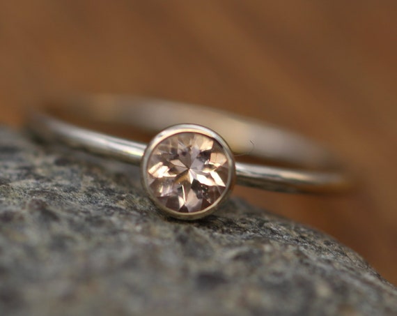 Morganite White Gold  4mm Round Glossy Stacking Ring - 1.2 mm Band - Pink Morganite Ring -Gold Stacking Ring -  Morganite Solitaire