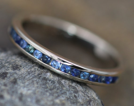 Blue Sapphire Channel Ring - White Gold Sapphire Channel - Sapphire Wedding Band - Gold Sapphire Band - White Gold Sapphire Ring