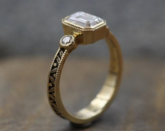 Moissanite 5x7mm Octagon Milgrain Leaf Engraved Gold Multi Bezel Ring -  Alternative Engagement Ring 0.9 carat -  Bezel Ring - Forever One