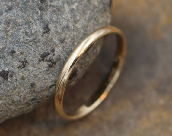 Yellow Gold Glossy Finish Band 2x1mm - Simple Gold Band - Smooth Band - Engravable Band - Half Round Gold Band - 14 kt Yellow Gold