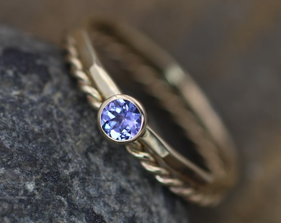 Tanzanite 3mm Gold Stacking Ring Set - Twist Wire, Rope Stacking Ring Set - Tanzanite Stacking Ring Set - Round Tanzanite Ring