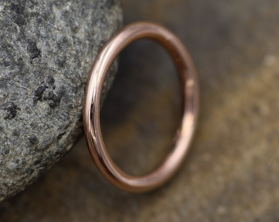 14 Kt Rose Gold Round 2 mm Glossy Stacking Ring - Rose Gold Stacking Ring - Round Pink Gold Ring- Stacking Band - Thick Rose Gold Band