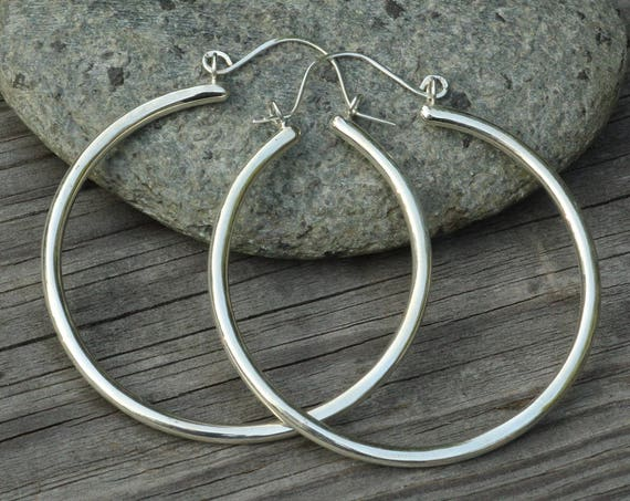 Large Gold Hoop Earrings - Thick Gold Hoop Earrings  - Hoop Earrings - Clasp Hoops - Gold Tubing Hoops - Large Hoops