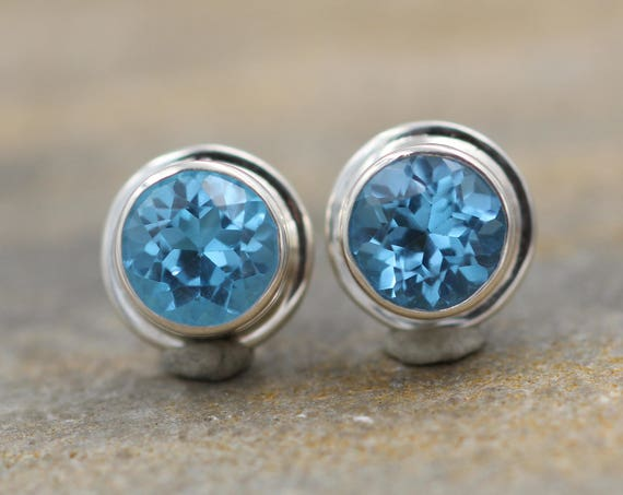 Swiss Blue Topaz Stud - Blue Topaz Studs - Round Swiss Blue Topaz Stud Earrings - Silver Blue Topaz Studs