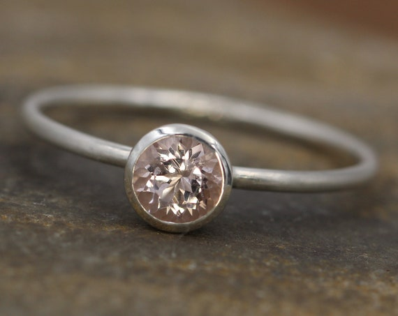 Morganite 5mm Round Matte Silver Bezel Stacking Ring - Matte finish - 1.2 mm Band - Pink Morganite - Stacking Ring -  Morganite Solitaire