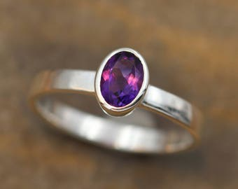 Amethyst Bezel Ring - 5x7mm Faceted Oval - Sterling Silver Amethyst - Oval Amethyst Ring - Grape Amethyst Sterling Silver Ring