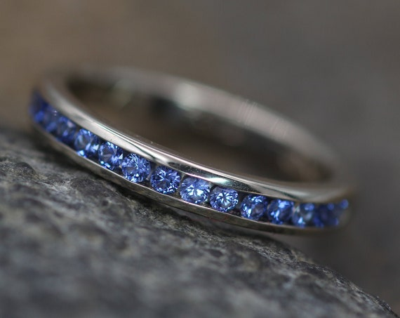 Precision cut Ceylon Color Sapphire Channel Ring - Natural Sapphire Wedding Band - Hand made in 14kt Gold