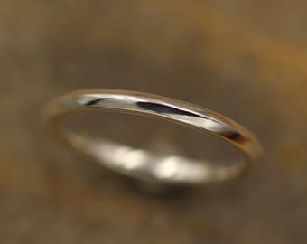 Knife Edge Glossy Stacking Ring in Argentium - Simple 1.8 mm Bands - Knife Band - Argentium Stacking Rings