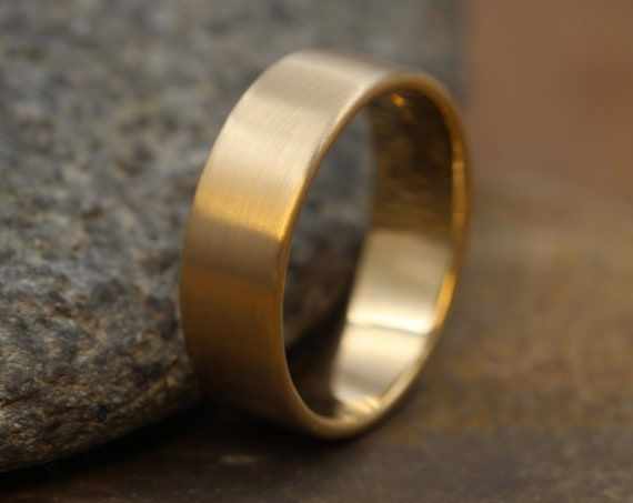 14kt Yellow 6x1.2mm Matte Wide Gold Band - Matte Band- Mens Wide Band - Flat Gold Ring - Yellow Gold Band - Low Profile Gold Band