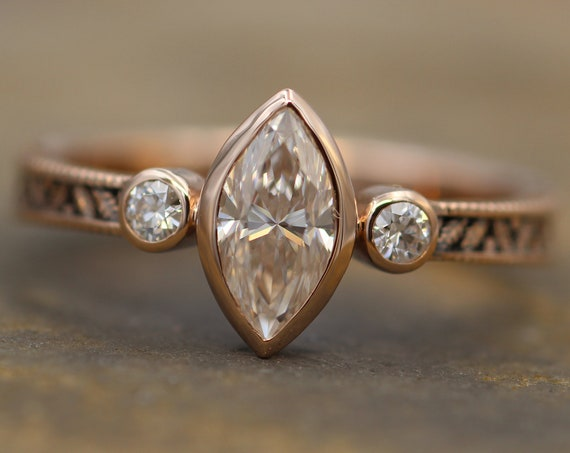 Moissanite Rose Gold Hand Made Vintage Engagement Ring - Marquise Ring - Leaf Engagment Ring - Diamond Ring - Diamond Bezel Ring
