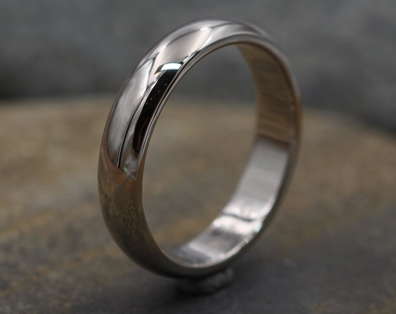 Palladium White Gold 4.5 x 1.9mm Band , Shiny Finish , Simple Fit - Smooth Band - Engravable Band - Half Round Band - Hand Made