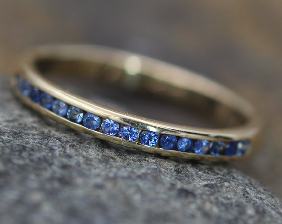 Blue Sapphire Channel Ring - Yellow Gold Sapphire Channel - Sapphire Wedding Band - Gold Sapphire Band - White Gold Sapphire Ring