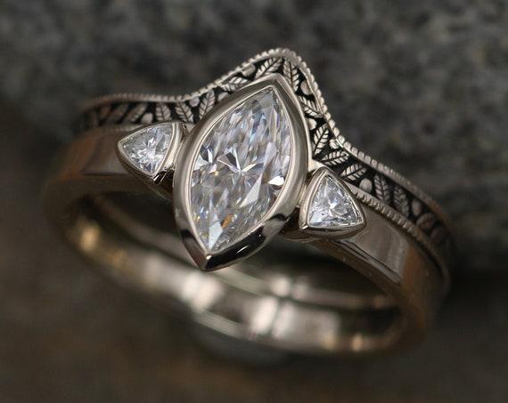 Moissanite White Gold Hand Made Leaf Engraved Vintage Engagement Ring Set - Marquise Ring - Leaf Engagment Ring - Alternative Engagment Ring