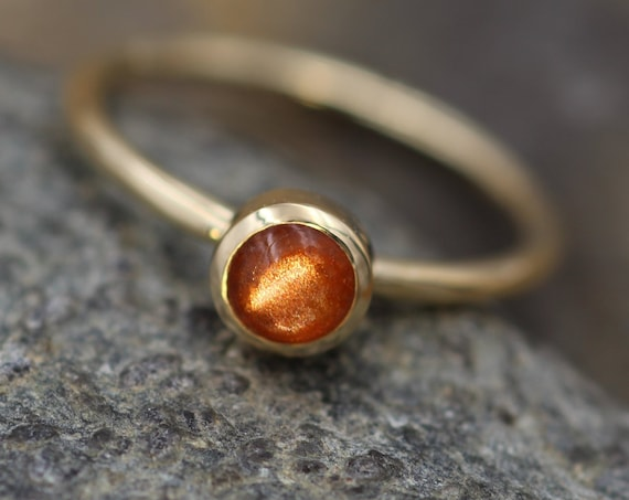 Sunstone Yellow Gold Round 1.5mm band Stacking Ring 5mm - Made in recycled 14 kt yellow gold - Sunstone Ring - Sun Ring
