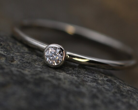 Diamond White Gold Bezel Stacking Ring Glossy Finish - 2.5 mm, 0.05 ct - Engagement Ring - Diamond Ring - VS Ring