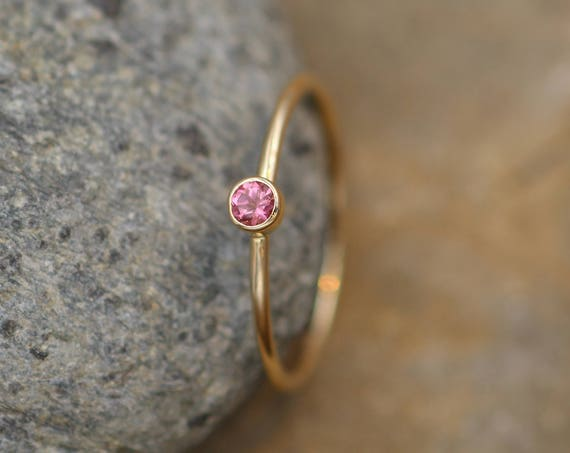 Pink Tourmaline Stacking Ring - 3mm, Glossy Finish - Hand Made Yellow Gold - Stackable - Round Texture - Skinny Tourmaline Ring