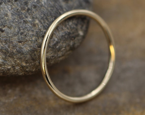 14 kt Yellow Gold 1.4mm Round Stacking Ring(s) - Glossy Finish - Skinny Gold Ring - Skinny Stacking Ring