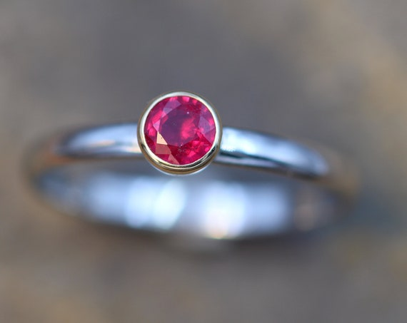 Ruby 4mm Platinum and Yellow Gold Bezel Ring - Ruby Solitaire Ring - Red Ruby Ring - Faceted Ruby Ring - Ruby Engagement Ring
