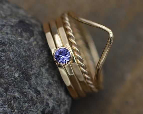 Tanzanite 3mm Yellow Gold Stacking Ring Set - Egyptian Style Stacking Ring Set - Tanzanite Ring Set - Tanzanite Gold Ring Set