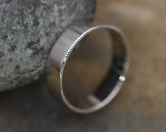 14kt White Gold Wide Band - 5x1mm Glossy Finish - Mens Wide Band - Thin Gold Ring - White Gold Band - Low Profile Gold Band