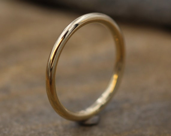 14 Kt Yellow Gold Round 2 mm Glossy Stacking Ring - Yellow Gold Stacking Ring - Round Gold Ring- Stacking Band - Thick Gold Band