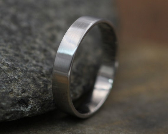 Platinum Matte 4x1mm Wide Band - Mens or Womens Wide Band - 950 Platinum Band - Low Profile Platinum Band