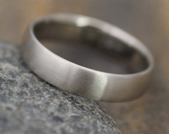 Wide White Gold Band 4.5x 1.4mm, Matte Finish , Comfortable Band - Smooth Band - Engravable Band - Half Round Gold Band - Hand Made