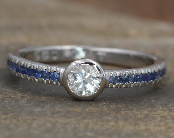 White and Blue Sapphire Platinum Alternative Engagement Ring - Sapphire Platinum Ring - White Sapphire Bezel Ring - Sapphire Ring