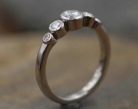 Moissanite Solid Palladium Multi Bezel Ring - Forever One Moissanite Engagement Ring - Moissanite Engagement - Alternative Engagement