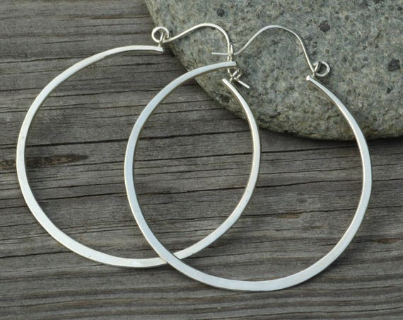 Silver Hoop Earrings - Flat Silver Hoops - Hammered - Glossy - Hand Made - Variable Size Options - Choice of Sterling or 14 kt Yellow Gold