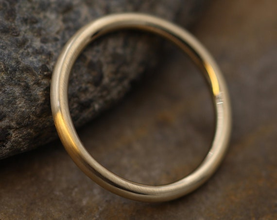 14 Kt Yellow Gold Round 2 mm Matte Stacking Ring - Yellow Gold Stacking Ring - Round Gold Ring- Stacking Band - Thick Gold Band