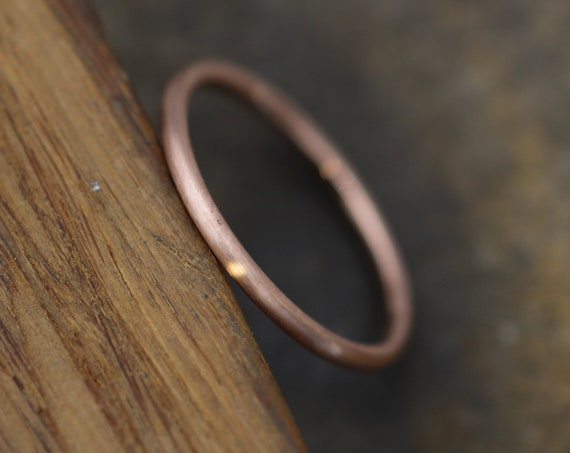 14 kt Rose Gold 1.4mm Round Stacking Ring(s) - Matte Finish - Skinny Gold Ring - Skinny Stacking Ring - Rose Gold Ring - Pink Gold Ring