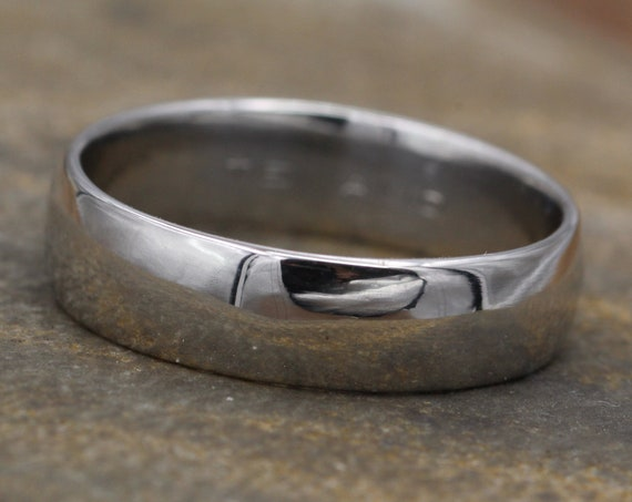 Wide Platinum Comfort Fit 6x1.4mm Half Round Glossy Band - Mens Platinum Band - Platinum Band of Substance - Hand Made Platinum Band