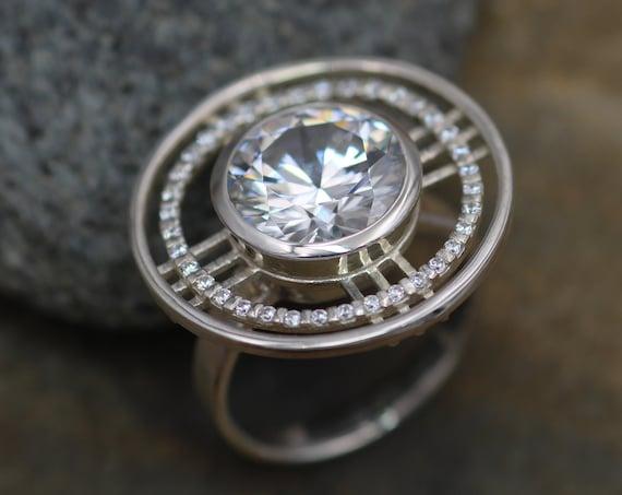 Moissanite Statement Ring - Moissanite Bezel Ring - Honker Moissanite Ring, 12mm 5.79 carat Bezel Ring - Forever One Ring