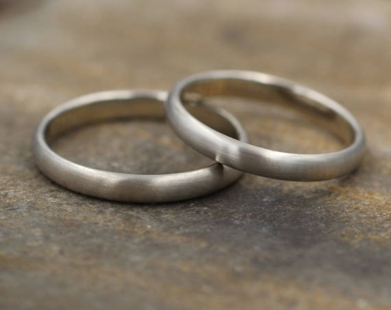 Half Round White Gold Matte Ring 3x1.5mm - Simple Wedding Band - Smooth Texture Half Round Band hand made in 14 kt white gold