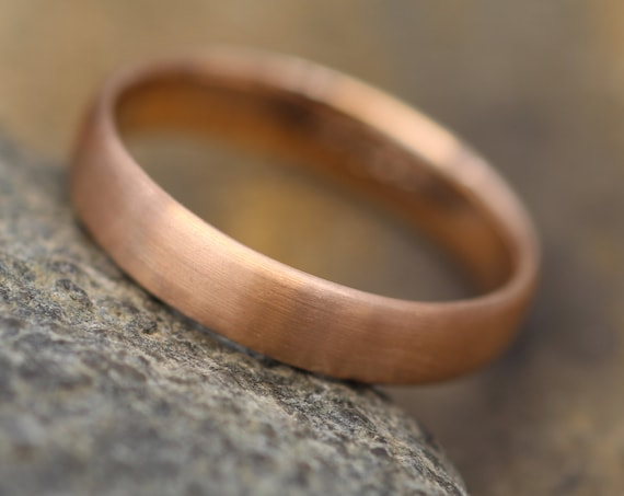 Wide 14kt Rose Gold Band 5.5x1.6mm, Matte Finish , Comfort Fit - Smooth Band - Engravable Band - Half Round Gold Band - Hand Made