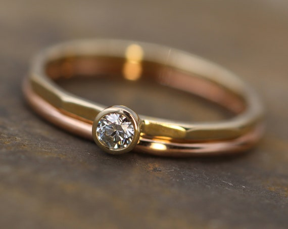 Canadian Diamond Yellow & Rose Gold Ring Set - 3mm Glossy Finish , 0.11 ct - Gold Engagement Ring - Diamond Gold Stacking Ring - VS Ring