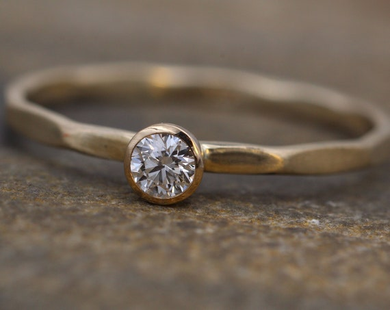 Diamond Stacking Ring - 3mm  Matte Finish , 0.11 ct - Gold Engagement Ring - Diamond Gold Stacking Ring - VS Ring