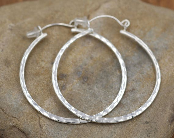 Hammered Hoop Earrings - Faceted Texture Hoops - Shiny hoops - Hand Made - Variable Size Options - Choice of Sterling or 14 kt Yellow Gold