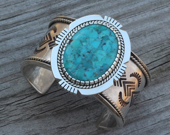 Turquoise Bracelet - Rising Sun and Chevron Stamped Design - Hand Made Turquoise Bracelet - Substantial Turquoise Bracelet
