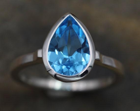 Swiss Blue Topaz Bezel Ring - Topaz Pear Cut Ring - Topaz Tear Drop Ring - Ice Blue Topaz - Topaz Honker - Topaz Alternative Engagement